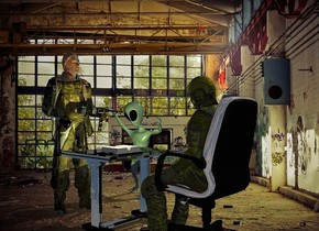 a olive man is behind a shiny black table.a chair is -22 inches behind the man.the table is facing the man.a book is on the table.a 5 feet tall soldier is in front of the table.the soldier is facing east.a 3.5 feet tall alien is 1 feet left of the soldier.he is facing right.factory backdrop.a 45% yellow light is above the book.the chair's seat is shiny.the camera light is dim.