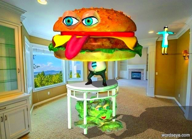 Input text: In the dining room, the 2 foot tall cabbage is underneath the table.  A 4 foot tall monster is on top of the table.  The monster is facing southwest. The two eyes are 9 inches  in front of the center of the cabbage and 15 inches above the ground..   The eyes are 4 inches tall.  A green light is 3 feet in front of the cabbage.  An orange light is 3 feet behind the cabbage.  The mouth is 10 inches in front of the center of the cabbage and 10 inches above the ground.  The human is 25 feet northeast of the cabbage.