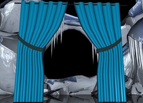 ground is 450 feet tall.ground is shiny white [ice].a 100 inch tall  curtain.the curtain is facing east.it is night.