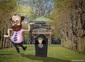professor next to gravestone in graveyard