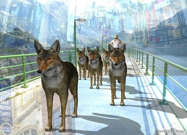 Input text: a wolf is on a shiny mountain.a pack is behind the wolf.the sky is city.a man is behind the pack.