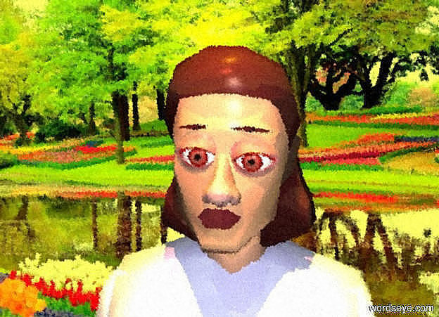 Input text: a garden backdrop. a dull  beige rose person. sun is yellow. a 1st dull red eye is -.15 feet in front of and -.85 foot right of and -.5 feet above the person. a 2nd dull red eye is  left of the eye. a dull red nose is -.07 feet left of and -.1 feet beneath and -.03 foot in front of the 1st eye. her lip is bordeaux wine mauve. her hair is brown. her torso is pale blue. her shirtsleeve is pale blue.shadow plane is invisible. it is noon. a copper light is above and in front of the person. a 1st .02 foot tall and .175 foot wide flat brown feather is above the 1st eye. it leans 5 degrees to the left. a 2nd .02 foot tall and .175 foot wide flat brown feather is above the 2nd eye.