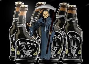 a [bd] backdrop.a 3 inch tall shiny black grim reaper.