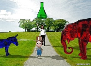 A boy is in the field. There is a red elephant 3 feet to the boy's right. There is a blue donkey 3 feet to the boy's left. The donkey is facing the boy. The elephant is facing the boy. There is a woman 5 feet behind the boy. The red elephant is transparent  The blue donkey is transparent. There is a giant green beaker 1 foot above the woman.