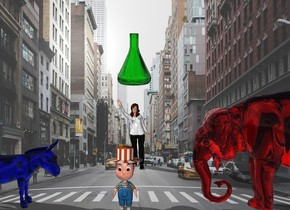 A boy is in New York City. There is a red elephant 3 feet to the boy's right. There is a blue donkey 3 feet to the boy's left. The donkey is facing the boy. The elephant is facing the boy. There is a woman 5 feet behind the boy. The red elephant is transparent  The blue donkey is transparent. There is a giant green beaker 1 foot above the woman.