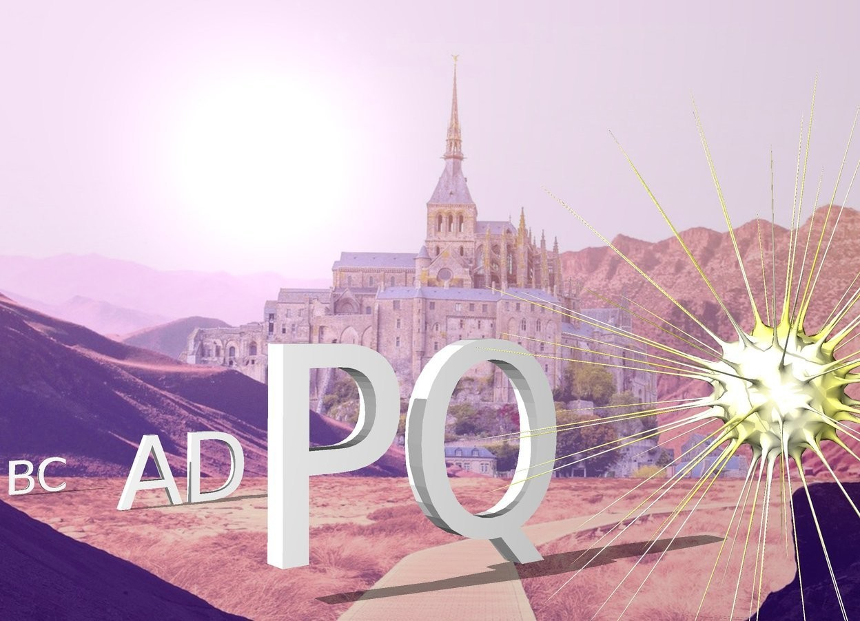 """Input text: The fantasy backdrop. The small """"BC"""" is to the left and 3 foot behind the """"AD"""". The large """"PQ"""" is 8 feet in front of the """"AD"""". the  sun symbol is 2.5 feet in front of the """"PQ"""". It is 6 feet tall."""