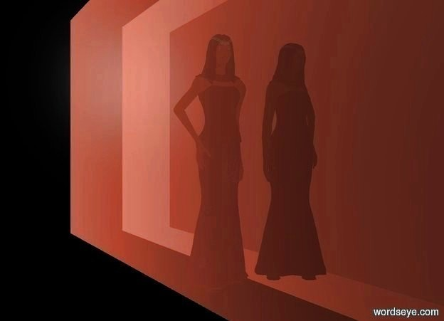 Input text: a dark woman is left of a 1st flat clear wall. her hair is black. the wall faces the woman. a 2nd flat clear wall is left of the woman. it faces the woman. sky is peach. backdrop is black.