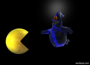 A black pizza is right of a 20% shiny yellow sphere. It is leaning 90 degrees to the left. Black backdrop. A small blue ghost is 2 feet behind the sphere. Azimuth of the sun is 20 degrees. Altitude of the sun is 60 degrees. The mouth of the ghost is 20% shiny black. Camera light is brown. A light is in front of the sphere.