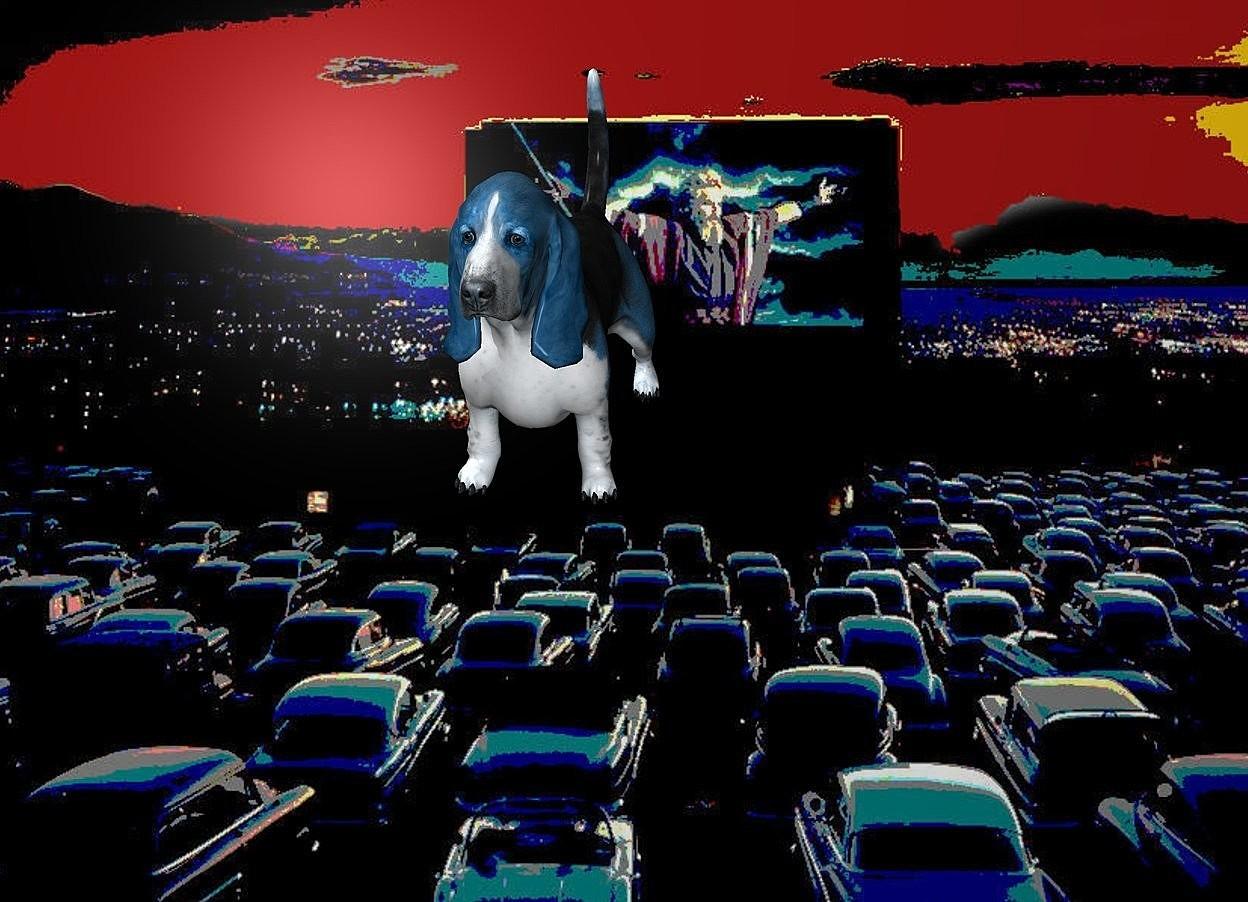 Input text: a [dc] backdrop.a 5 inch tall  petrol blue dog.