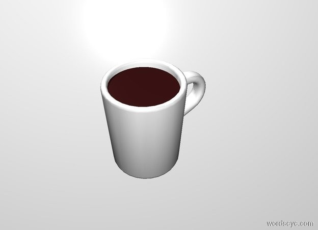 Input text: THE WHITE BACKDROP. a .3 foot wide and .3 foot deep dark brown circle is -.05 foot above and -.32 foot right of and -.32 feet in front of the mug.