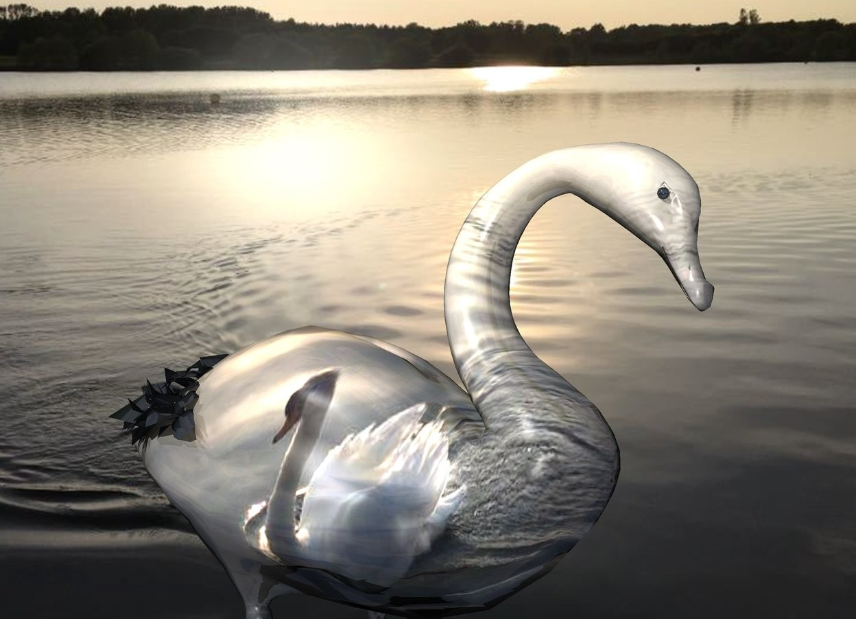 Input text: A 10% shiny swan is 3 feet wide image-15157. image-15157 backdrop. Sun is silver. A 0.5 inch wide 30% shiny black sphere is -1.8 inch in front of and -7.1 inch left of and -3.7 inch above the swan.
