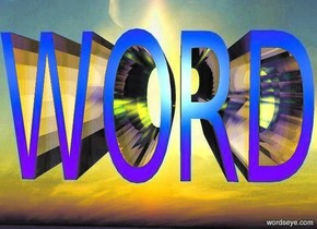 "a 1st 2 foot tall and  4 foot wide and 5 foot deep shiny ink blue ""WORD"".  ground is invisible. backdrop is invisible. 10 yellow lights are 5 feet behind the ""WORD"". shadow plane is invisible. 6 huge lavender lights are 10 feet in front of the ""WORD"".  sky leans to the back."