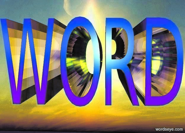 "Input text: a 1st 2 foot tall and  4 foot wide and 5 foot deep shiny ink blue ""WORD"".  ground is invisible. backdrop is invisible. 10 yellow lights are 5 feet behind the ""WORD"". shadow plane is invisible. 6 huge lavender lights are 10 feet in front of the ""WORD"".  sky leans to the back."
