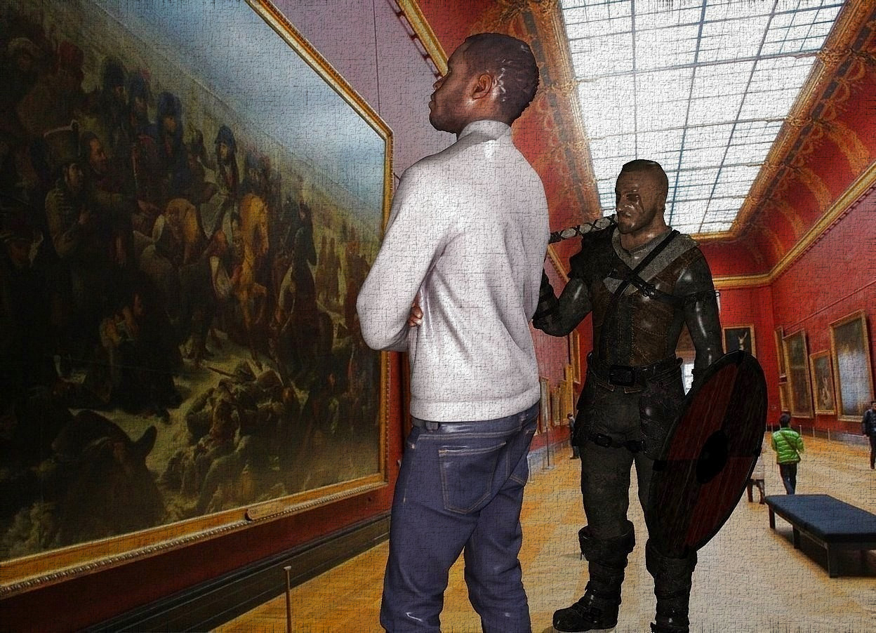 Input text: the student is in the museum.  the 5 foot tall viking is 1 foot to the left of the student. the viking is facing the student.