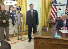 the image backdrop. the alien. the shadow plane.  the extremely tiny ufo is 3.7 feet to the right and above the alien. the small poop is 14.5 inches under the ufo. a second small poop is 2 inches above and to the left of the poop. a third small poop is 3 inches above and 2 inches to the right of the second poop.