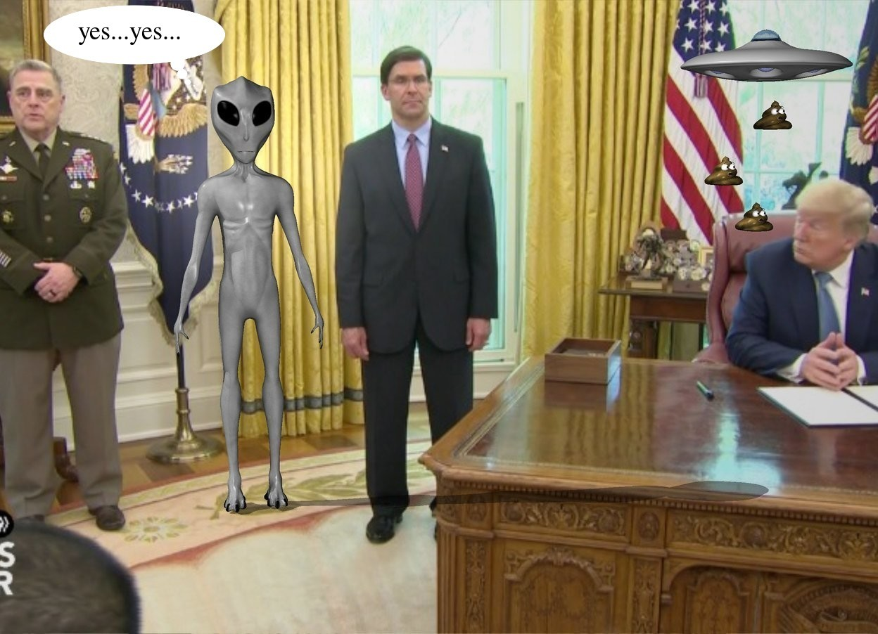 Input text: the image backdrop. the alien. the shadow plane.  the extremely tiny ufo is 3.7 feet to the right and above the alien. the small poop is 14.5 inches under the ufo. a second small poop is 2 inches above and to the left of the poop. a third small poop is 3 inches above and 2 inches to the right of the second poop.