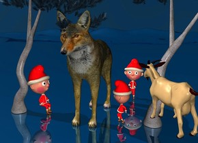 sky is petrol blue.ground is visible.a 100 inch tall wolf.a 1st 200 inch tall 30% dim petrol blue pine is right of the wolf.a 1st 50 inch tall elf is behind the wolf.the 1st elf is 5 inch right of the wolf.a 2nd 50 inch tall elf is 28 inch left of the wolf.the 2nd elf is facing the wolf.a 3rd 40 inch tall elf is 60 inch in front of the 1st elf.the 3rd elf is facing the wolf.a 30 inch tall 70% dim tan goat is -120 inch right of the 1st pine.the goat is facing the wolf.the goat is in front of the 1st pine.the goat is -160 inch above the 1st pine.a 2nd 200 inch tall 40% dim petrol blue pine is -100 inch left of the 2nd elf.ground is  shiny petrol blue.