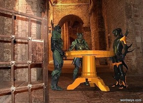 a 4 feet tall table.a 1st knight is behind the table.a 2nd knight is left of the table.it is facing right.a 3rd knight is right of the table.it is facing left.dungeon backdrop.a lemon light is above the table.