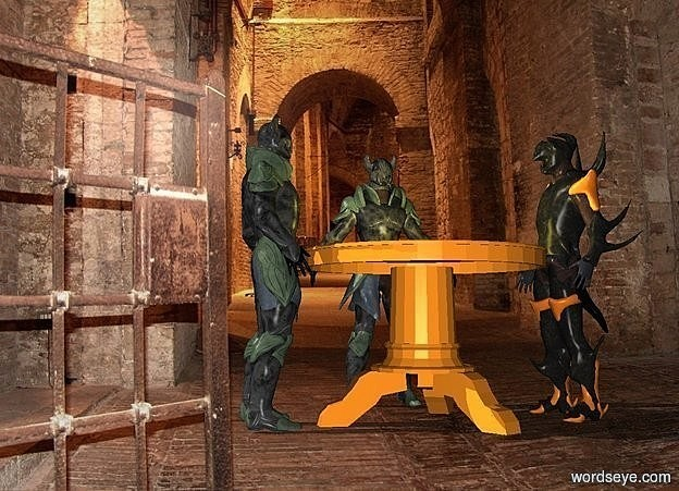 Input text: a 4 feet tall table.a 1st knight is behind the table.a 2nd knight is left of the table.it is facing right.a 3rd knight is right of the table.it is facing left.dungeon backdrop.a lemon light is above the table.