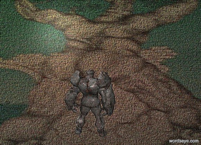 a [fb] backdrop.a 5 inch tall 70% dim rope brown golem.the golem is facing north.