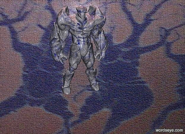 Input text: a [fb2] backdrop.a 5 inch tall delft blue golem.the golem is facing east.two 70% dim pink lights are above the golem.