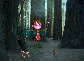 a fairy. a 1 feet tall and .3 inch wide tube is -.55 feet right of and -.48 feet in front of and -1.6 feet above the fairy. it leans left.  a north star is -.5 feet above and -.89 feet left of the tube. it leans left. backdrop is forest. a frog is 3 feet in front of and -1.8 feet right of the fairy. it faces the fairy. shadow plane is dim. it is noon. the camera light is cobalt blue. a 50% orange light is -2 feet above and .2 feet behind the fairy. a violet light is -.48 feet above and -.2 feet in front of the frog. the sun is cadet blue. a dim lilac rose point light is on the frog. 1st mushroom is 2 feet left of the frog. 2nd large mushroom is behind and right of the 1st mushroom. it leans right. 3rd large mushroom is 3 inch behind the 1st mushroom. it leans 30 degrees to the northwest
