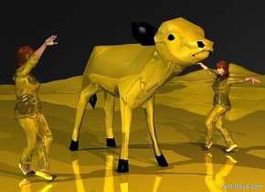 a gold calf.sky is black.ground is visible.two gold lights are 15 inch in front of the calf.two gold lights are 5 inch above the calf.ground is  gold.a 1st 25 inch tall gold woman is 10 inch left of the calf.the 1st woman is facing the calf.a 2nd 25 inch tall gold woman is 16 inch right of the calf.the 2nd woman is facing the calf.