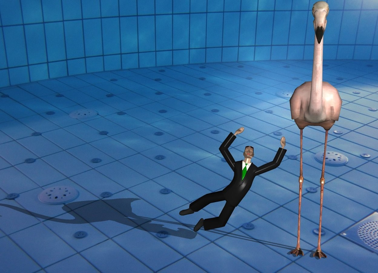 Input text: It is morning. the flamingo is in the pool. The tiny businessman is next to the flamingo.