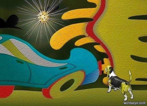 Input text: a [po] backdrop.sky is black.a 5 inch tall shiny  yellow dog.the dog is facing northwest.a 10 inch tall orange sun symbol is 3.7 inch above the dog.the sun symbol is -22 inch right of the dog.