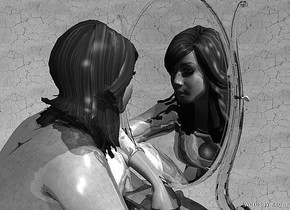 a 100 inch tall shiny gray woman.sky is gray .ground is invisible.sky is 5800 inch wide [dirt].a 90 inch tall clear white mirror is -55 inch in front of the woman.the mirror is -80 inch above the woman.three gray lights are 10 inch above the woman.