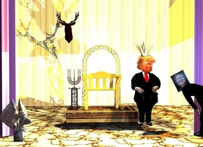 a throne is -10 feet in front of and -18 feet above a large [texture] stage. the curtain of the stage is purple. the stage of the stage is 5 feet wide [marble]. a man is in front of and -1 feet right of the throne. the suit of the man is black.the tie of the man is red. the button of the man is black. a  head is -1.3 feet above and -1 feet in front of the man. a 1.5 feet tall and 2 feet wide and 2 feet deep shiny gold crown is -.23 feet above the head. a worker is .5 feet in front of and right of the man. the shirt of the worker is black. he faces the man. a 30% lemon yellow light is 4 feet above the throne. a orange light is above and -2 inches in front of the man. a large decoration is 3 feet behind and 1 feet above and -1 feet left of the throne.a table is -1.3 feet left of and -7 feet above the throne. a menorah is on the table. a cement gargoyle is 4.5 feet in front of and 1.5 feet left of the throne. it faces southeast. camera light is 30% pansy lavender. the sun is invisible. a 1.4 feet tall mitch is -1.2 feet above and -1.8 feet behind and -1.4 feet left of the worker. it leans 28 degrees to the right. a pond blue light is in front of and -7 inch above the worker.
