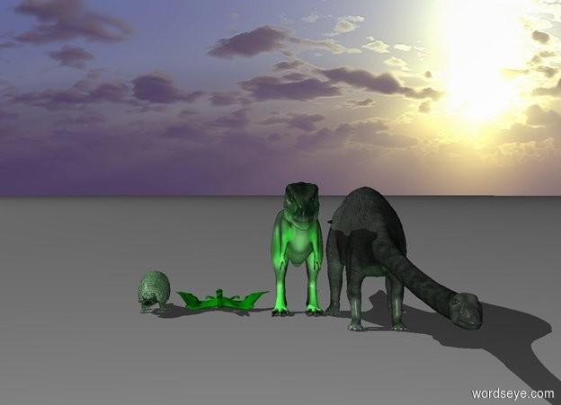 Input text: four similar green dinosaurs