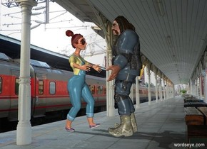 the brute is facing the librarian. The librarian is facing the brute.  The train station backdrop.