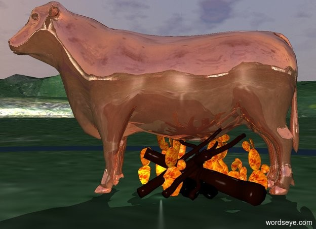 Input text: The shiny copper bull is -1.5 feet above the fire and -6 feet behind it.  A flame is -1.5 feet above the fire.