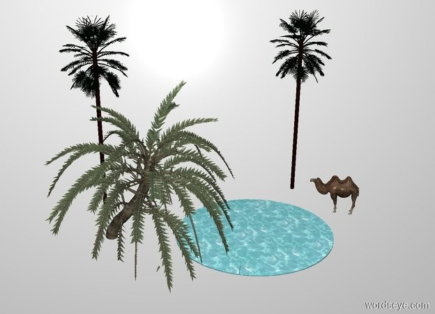 Input text: THE WHITE BACKDROP. A palm tree is -10 feet in front of the oasis. A camel is behind the oasis. It is facing southwest. A palm tree is left of the palm tree. A palm tree is 2 feet left of the camel.