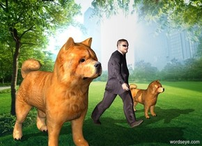 The 40 foot tall man is sitting down  The dog 40 foot tall sitting dog is  5.5 meters to the left of the 40 foot tall man   The 20 foot tall dog is 3.5 meters to the right of the 40 foot tall man