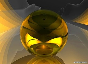 sky is black.ground is shiny.a 1st 100 inch tall clear yellow sphere.a 2nd 80 inch tall clear white sphere is -80 inch above the 1st sphere.the 2nd sphere is upside down.six orange lights.ground is 100 feet tall and 2500 feet wide and 100 feet deep.a 3rd 60 inch tall silver sphere is -85 inch above the 2nd sphere.camera light is black.