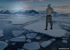 a [ie] backdrop.a 5 inch tall shiny 40% dim petrol blue man.the man is facing northwest.sky is black.