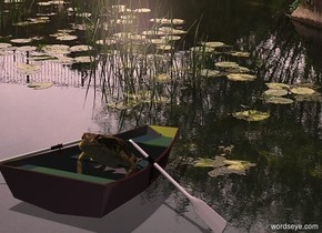 image-15147 backdrop. A huge frog is in a 20% shiny dark brown boat. Camera light is black. Shadow plane. Two yellow lights are left of and above the boat. Altitude of the sun is 70 degrees. The sun is pink.
