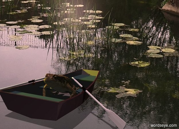 Input text: image-15147 backdrop. A huge frog is in a 20% shiny dark brown boat. Camera light is black. Shadow plane. Two yellow lights are left of and above the boat. Altitude of the sun is 70 degrees. The sun is pink.