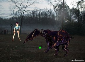 morning backdrop.a shiny black monster.pale shadow plane.a woman is 10 feet in front of the monster.she is facing the monster.a ball is in front of the monster.the sky is space.