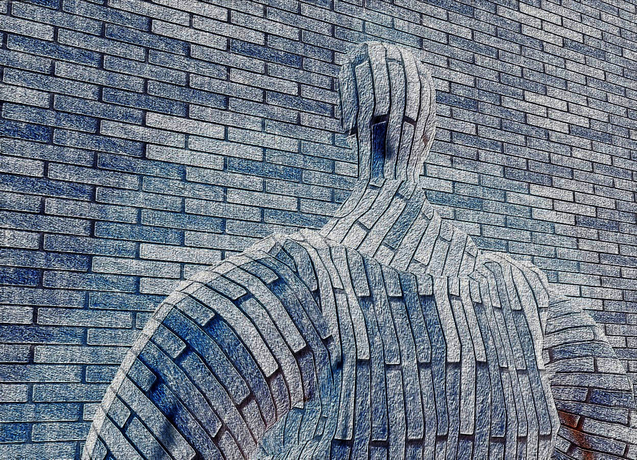 Input text: a 1st 850 inch wide and 620 inch tall and 150 inch deep  wall.the 1st wall is 200 inch wide [brick].a 1400 inch tall  man is -140 inch in front of the 1st wall.the man is 100 inch tall [brick].the man is -1600 inch above the 1st wall.the man is facing north.ground is black.six petrol blue lights are 550 inch in front of the man.sky is black.