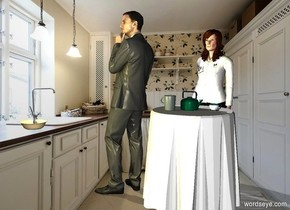 a pot is on a table.a cup is 2 inches right of the pot.a woman is behind the table.kitchen backdrop.a man is left of the table.he is facing left.a bowl is 25 inches in front of the man.it is -41 inches above the man.the bowl is -3 inches left of the man.a spoon is -2 inches above the bowl.it is leaning 75 degrees to the north.a mug is left of the pot.it is facing east.the mug is in front of the pot.a 60% lemon light is above the bowl.the mug is charcoal.pale shadow plane.