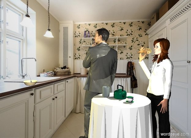 Input text: a pot is on a table.a cup is 2 inches right of the pot.a woman is behind the table.kitchen backdrop.a man is left of the table.he is facing left.a bowl is 25 inches in front of the man.it is -34 inches above the man.the bowl is -3 inches left of the man.a spoon is -2 inches above the bowl.it is leaning 75 degrees to the north.a mug is left of the pot.it is facing east.the mug is in front of the pot.a 60% lemon light is above the bowl.the mug is charcoal.pale shadow plane. a [bread] croissant is  in front of and -.7 feet above the woman. a hand is -.32 feet beneath and -.3 feet left of the croissant. it faces back. a white cylinder is 1 feet tall and .22 feet wide and .22 feet deep. it is -.2 feet beneath and -.28 feet behind the hand. it leans 35 degrees to the front. a tiny beige light  is right of the croissant.