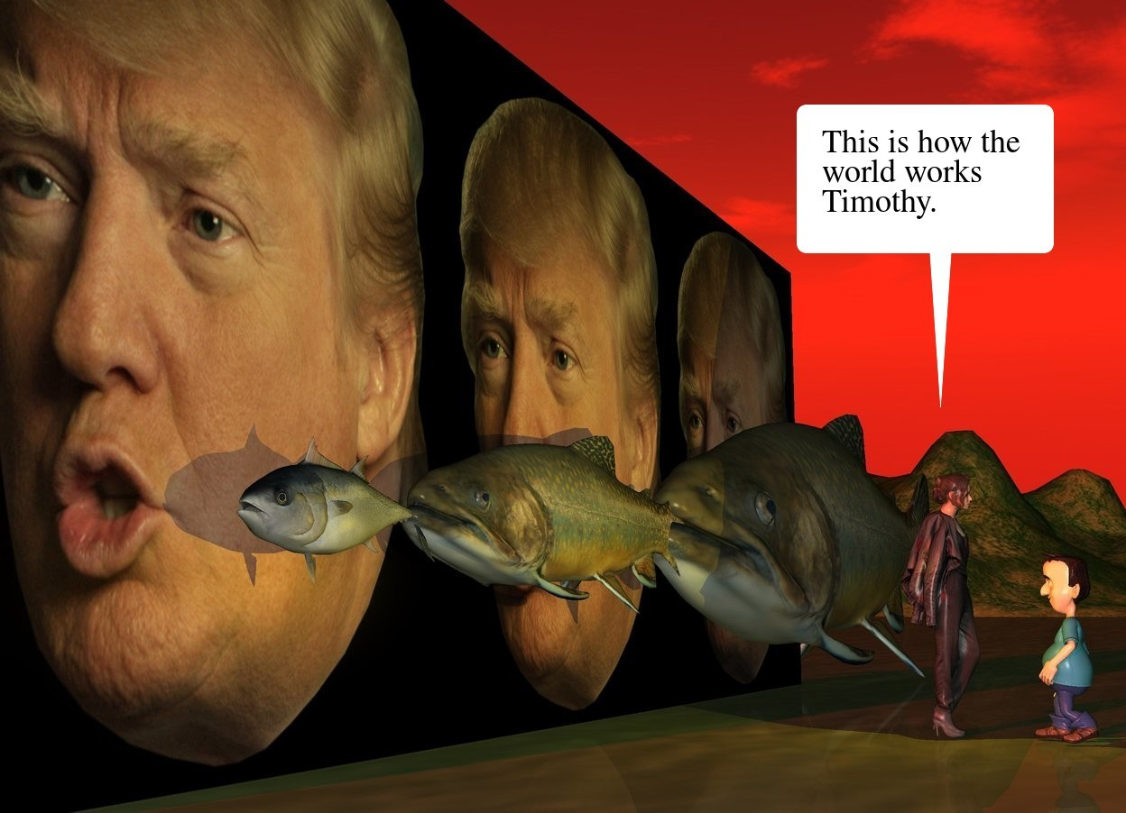 Input text: the [trump] wall. the first fish is in front of and -6 feet to the left of the wall. it is facing left. it is 19 inches above the ground. a second very huge fish is -6 inches to the right of the first fish. it is 16 inches above the ground. it is facing left. the third very enormous fish is -17 inches to the right of the second fish. it is on the ground. it is facing left. it is dusk. the sun is red. the gold light is 3 feet in front of the second fish. the small woman is 4 feet in front of the wall. the boy is 6 inches in front of the woman. he is 2 feet tall. he is facing the woman.