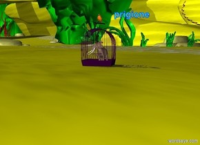 the elephant fits in the purple birdcage.  the bird is on the cage.  the ground is pale yellow.