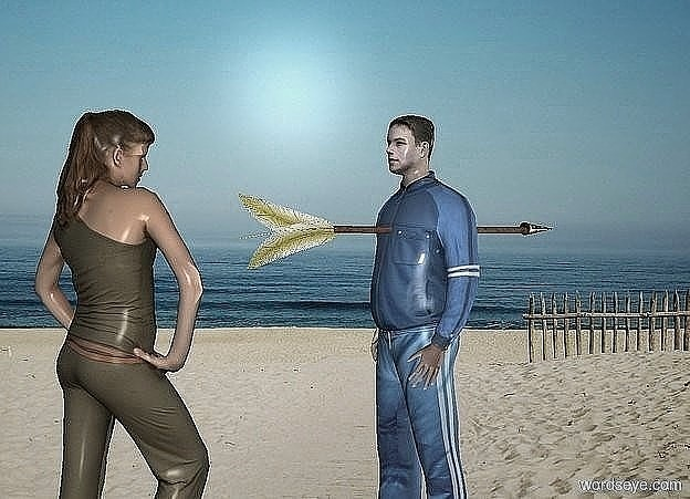 Input text: a small man. a arrow is -1 foot above the man. it leans 90 degrees to the front. a small woman is 1 feet in front of the man. she faces back.
