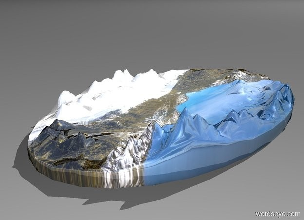 Input text:  a 160 inch tall 100 foot wide shiny [snow] island.