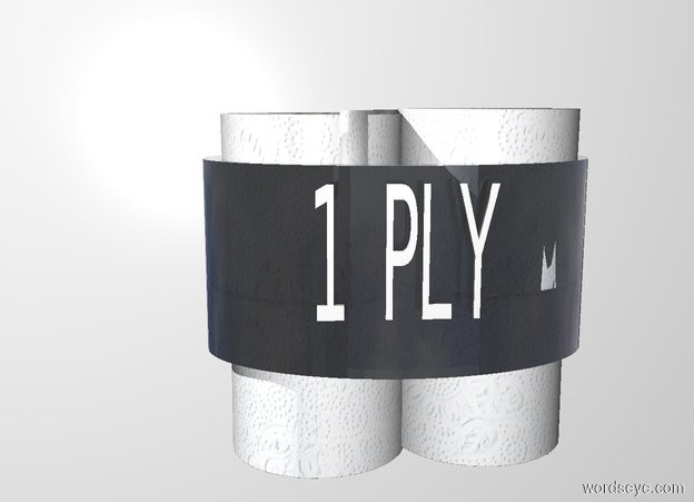 """Input text: 1st toilet paper roll leans 90 degrees to the right. a 2nd toilet paper roll is on the 1st roll. it leans 90 degrees to  the right. 3rd toilet paper roll is -.3 feet right of the 1st roll. it leans 90 degrees to the right. it faces back. 4th toilet paper roll is on the 3rd roll. it leans 90 degrees to the right.it faces back. a clear .4 feet tall and .5 feet deep and .8 feet wide tube is -.5 feet above and -.55 feet right of the 2nd toilet paper roll. a 3 inch tall and .1 inch deep and 4 inch long white """"1 PLY"""" is -3.5 inch above and -.09 inch in front of the tube. backdrop is white."""