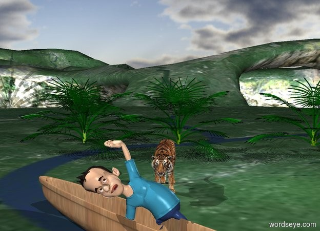 Input text: A tiger is 5 feet in front of the jungle. A 20 foot wide boat is in front of the tiger. It faces northeast. A man is -1 feet above it.